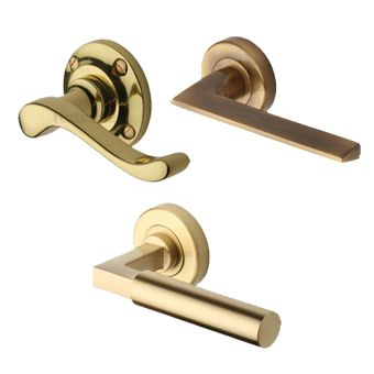 Brass Lever Door Handles on a Round Rose