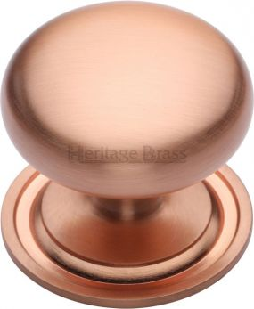 Heritage Brass Cabinet Knob Victorian Round Design with base 48mm Satin Rose Gold finish