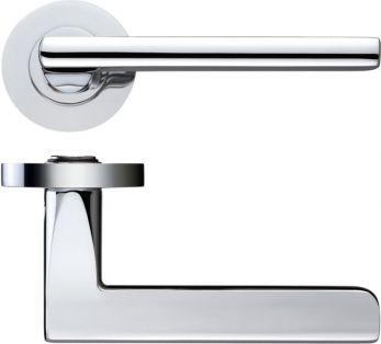 Adria Lever Door Handle on Rose Bathroom Set Polished//Satin Chrome c//w Hinges