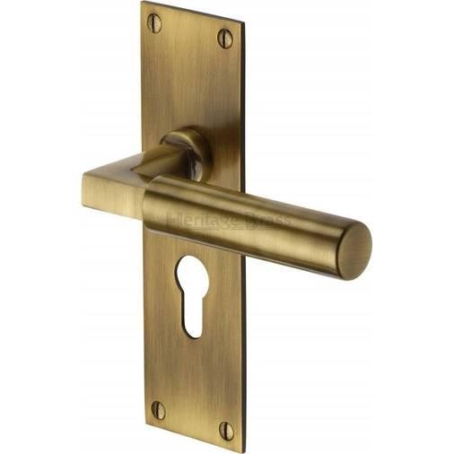 - Bauhaus BAU7348-AT Antique Brass Euro Lock Door Handles