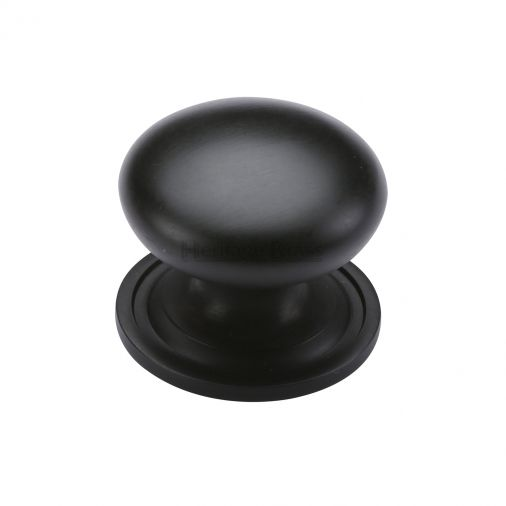Heritage Brass Cabinet Knob Victorian Round Design with base 48mm Matt Black finish
