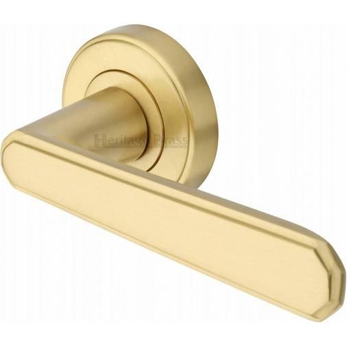 Brass CEN1924-SB CENTURY Satin Brass Lever Door Handle on Round ...