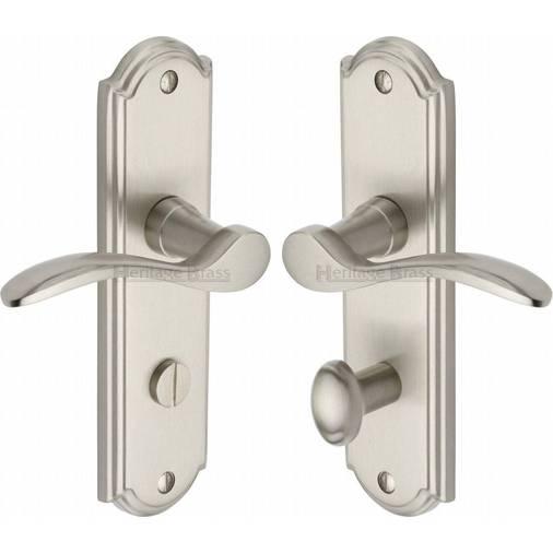Howard How1330 Sn Satin Nickel Lever Bathroom Door Handles Silver Lever Handles On Backplate