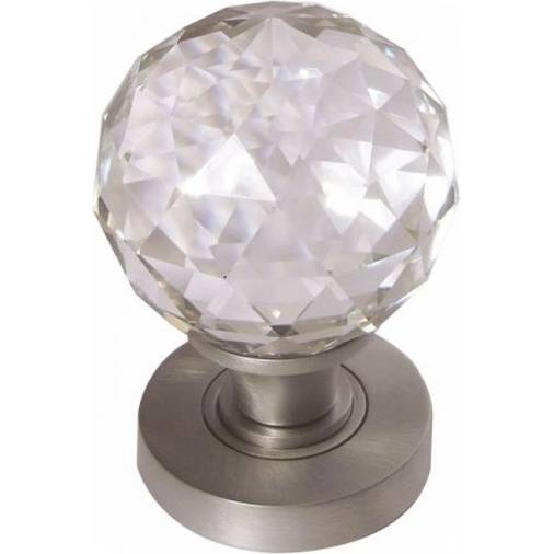 JH5255SC - satin chrome faceted crystal door knobs