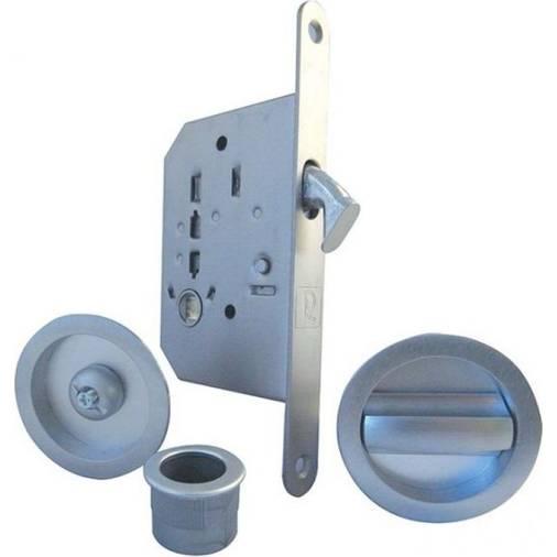 Satin Chrome Bathroom Thumb Turn Release 76mm Flat Deadbolt Lock Door Set