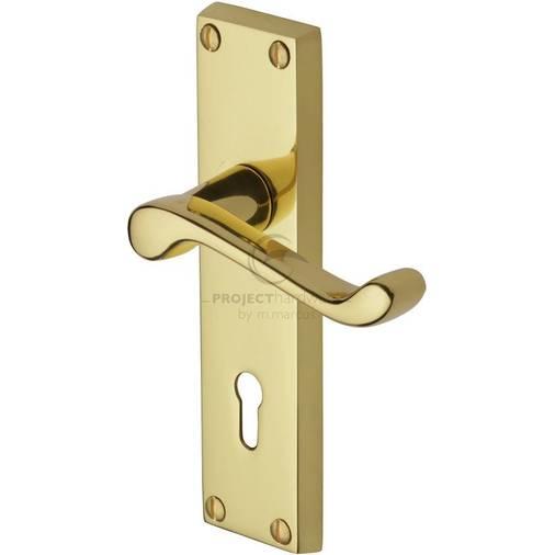 Georgian Scroll Polished Brass Door Handles with Keyhole FG27