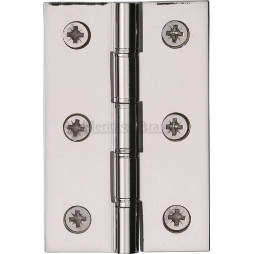Washered Butt Hinge 76 X 51 X 2.5mm Polished Nickel Solid Brass