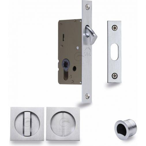 Heritage Brass Square Sliding Pocket Bathroom Door Lock Set Satin