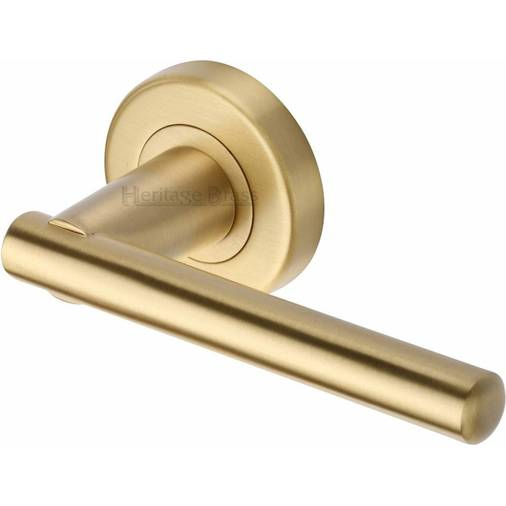 Satin Brass Lever Door Handle On Rose Brass Lever Door