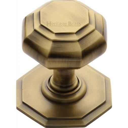 V890-AT - centre door knob 71mm antique brass