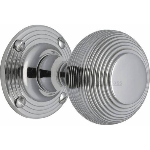 Brass V971 PC Polished Chrome Reeded Mortice Door Knobs