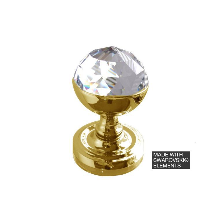 Swarovski acorn 2018pb polished brass faceted crystal door knobs