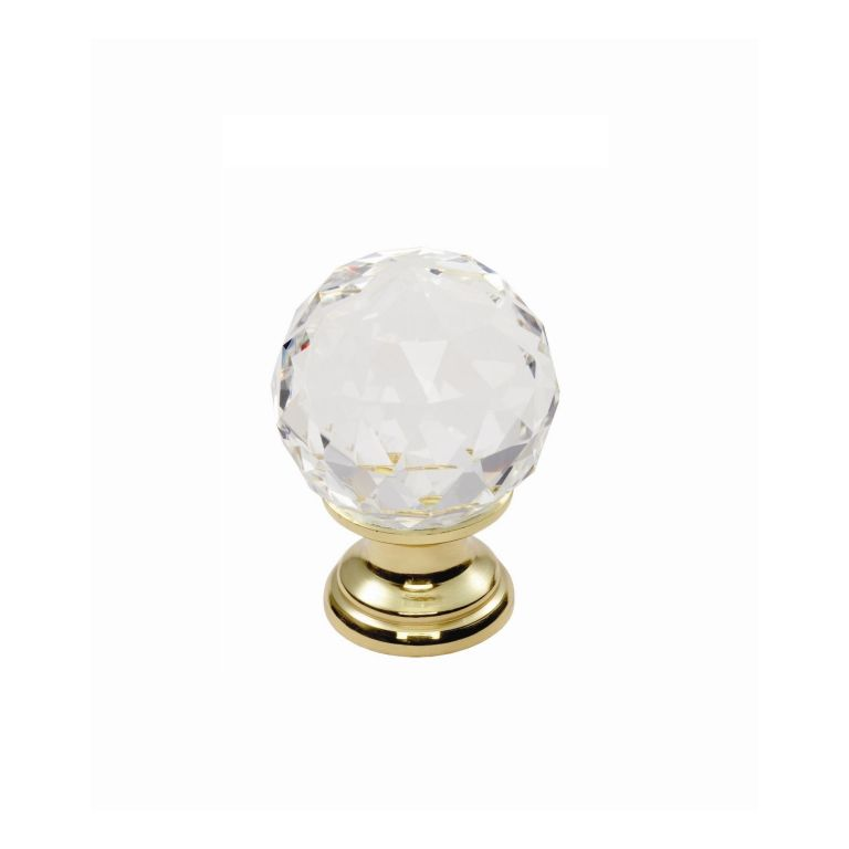 Clear Faceted Glass Knob  Mm
