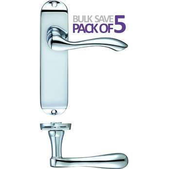 175mm Europa CHROME LEVER LATCH HANDLE Polished Contemporary Modern Finish