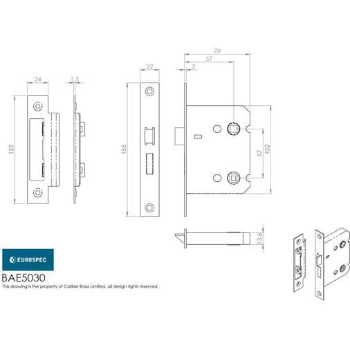 Carlisle Brass LSE5330NP//R Contract Locks Easi T Contract 3 Lever Sashlock 76mm EUROSPEC 3